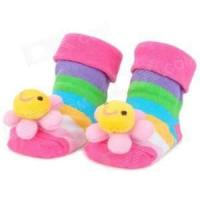 China Fashionable Cute 3D pom solid colored non slip terry infant socks for toddlers on sale