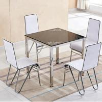 Quality Stylish Glass Top Dining Room Table , Tempered Glass Top Dinette Sets square desktop dining table with stain steel leg wholesale