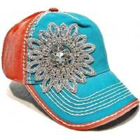 China Charming Sparkle Cotton Unisex Baseball Caps With Floral Rhinestones Crystal on sale