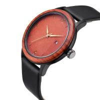 Quality Unique Design Wooden Quartz Watches With Soft Leather Band wholesale