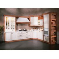 Italian Design PVC / Thermofoil Modular Kitchen Cabinets With Marble Countertops Custom