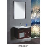 Quality 70 X 47 / cm light wood bathroom vanity cabinet , Full Extension drawers modern bathroom sink vanity wholesale