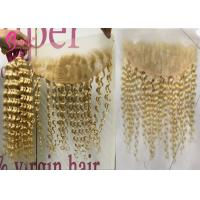 Quality Lace Frontal Closure 613 Blonde Ombre Hair Extensions / 100% Deep Wave Curly Human Hair wholesale