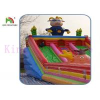 Quality Blow Up Gbond Dry Slide / Commercial Inflatable Slide With Bouncer Play Paradise For Kids wholesale