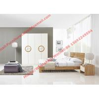 Quality Modern design KD bed furniture set by melamine and white glossy door wardrobe wholesale