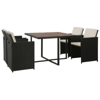 Quality Steel Frame H87cm Chair H71cm Table 5 Piece Rattan Patio Set With Cushion wholesale