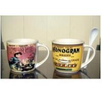 Quality Certification SGS/CE Export 9303 spoon ceramic mug with handle custom LOGO coffee mark cup wholesale