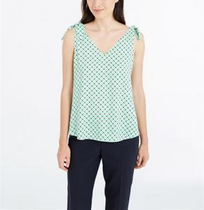Quality 100% Polyeste printed dots V neck sleeveless sweet chiffon blouse China dress factory wholesale