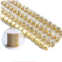 China Rhinestone Cup Chain Chaton Crystal Chain Gold Plated Bling Trims Decorative Chain Accessories for Garment Dress on sale