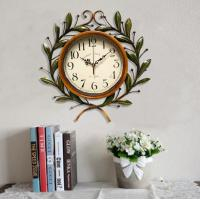 China Large Beautiful Antique Iron Olive Leaf Decorative Clear Glass Green  Decorative Wall Clock on sale