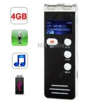 Quality Voice Recorder   4GB Digital Daul Microphone Voice Recorder wholesale