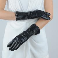 Quality Best Selling Soft Feeling women's real long sheepskin leather winter gloves with zipper wholesale