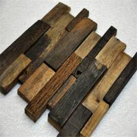 Quality Old Ship Wood Mosaic Wall Panels , Mixed Color Wood Mosaic Tile For Shop wholesale