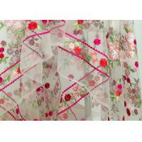 Quality Floral Heavy Embroidered Lace Fabric , Polyester Mesh Fabric With Multi Color Embroidery wholesale