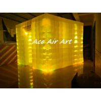 Cheap rental large 3x3m portable cube inflatable photo booth tent with colorful led lights for wedding for sale