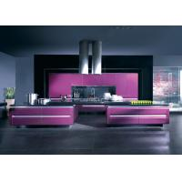 Quality Solid Wood Closeout Modern Kitchen Cabinets With Purple Lacquer Finishes wholesale