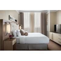 Quality laminated Oak wood Hotel bedroom Furniture sets Tall headboard with Fabric upholstered padded and TV units Contemporary wholesale