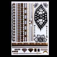 Quality Colorful Temporary Metallic Jewelry Tattoo Stickers , Boys Temporary Tattoos wholesale