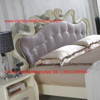 Cheap Flowers Headboard Wooden Bed in Neoclassical fabric design for luxury multiple star B& B Room Furniture for sale