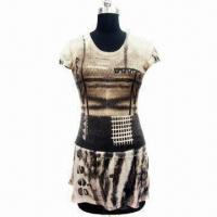 Quality Short-sleeve Printed Dress, Made of 40% Tencel and 60% Wool wholesale