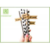 Quality Disposable Colored Paper Straws , Paper Drinking Straws Bulk For Baby Shower 197 * 6mm wholesale