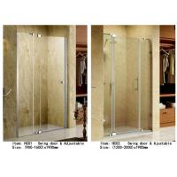 Quality 3 Panels Straight Frameless Glass Shower Doors Hinge Opening Style With Adjustable Support Bar wholesale