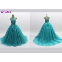 Quality Classical Noble Blue Prom Dresses , Long Tulle Attractive Backless Evening Gowns wholesale