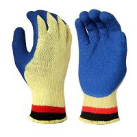 Quality C2002 10 Gauge KEVLAR Seamless liner, with Blue Latex Palm and Thumb Coating, Crinkle Finished wholesale