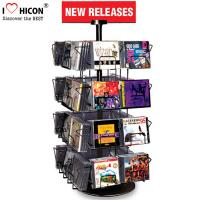 Quality CD Merchandising Metal Display Racks 32 Pockets Book Retail Rotating Display Rack wholesale