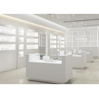 Quality Simple Wooden In Pure Matte White Jewelry Shop Decoration With Led Light wholesale