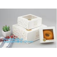 China Kraft paper clear window biscuit / cookie / cake box,custom made fancy Luxury cardboard Coated paper cake box wholesale on sale