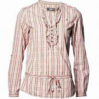 China Checkered cotton shirt/rolled up sleeves casual blouse/work shirt/occasion blouse, long-sleeved on sale