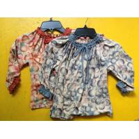 Quality Rust Circles Colorful Girls Long Sleeve Top , Children Girls Clothes Frills Cuff Neck wholesale