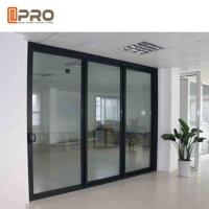 China Powder Coated Bullet Proof Aluminium Sliding Glass Doors Customized Size corner sliding door sliding door sensor price on sale