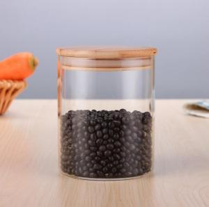 China storage glass jar,heat-resistant glass jar, borosilicate glass jar with bamboo lid on sale