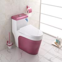 China Complete Toilet Set Pink Color Ground Drainage patterns on sale