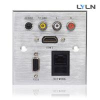 China Wall Mounted AV Wall Plate , Hdmi Vga Audio Faceplate For Training Room on sale