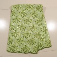 Quality Wedding Gown African Embroidery Lace Fabric ,Green Aqua wholesale