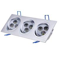 Quality Energy-saving Aluminum Silver Indoor Ceiling Square Recessed LED Downlight Lamp 12w AC110V wholesale