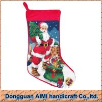 China The Santa Claus Knit Christmas Stockings, Wool Threads Needlepoint Stockings on sale