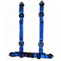 Quality Durable Blue Nylon Racing Safety Belts With Retractor , Four Point Seat Belt wholesale