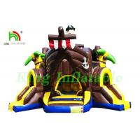 China Outdoor Commercial Bounce Houses Inflatable Pirate Boat With Slides / Air Guns on sale