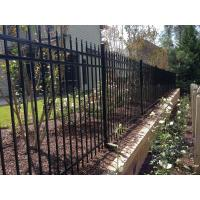 China Pressed spear top black powder coated steel fencing / iron fence on sale