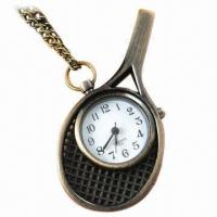 Quality Tennis Racket Pocket Watch, Sweater Chain, Made of Zinc Alloy, Crystal wholesale
