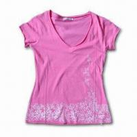 Quality Ladies' T-shirt, Perfect Workmanship, Customized Designs are Accepted, Made of 100% Cotton Jersey wholesale