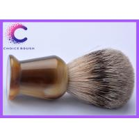 China 100% pure best shaving cream brush faux horn handle for men on sale