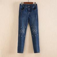 Non Fading Dark Blue Wide Leg Womens Tapered Jeans With Embroidered Flowers