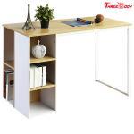Quality Light Brown / White Modern Office Table 5 Side Shelves PC Laptop Notebook Desk Metal Legs wholesale