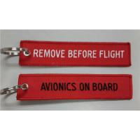 Quality Remove Before Flight Avionics on Board Custom Embroidery Keychain With Metal Ring wholesale