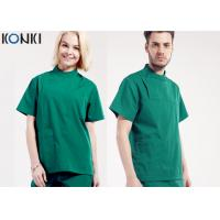China Mens Medical Scrubs Uniforms , Short Sleeve Cotton Surgical Gown Green on sale